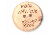 Houten knoop made with love 32